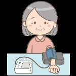 血圧測定している女性のイラスト