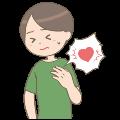 心臓がズキンとなる男性のイラスト